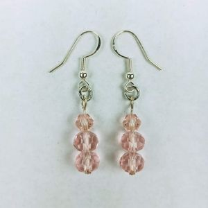 Light Pink faceted glass bead earrings